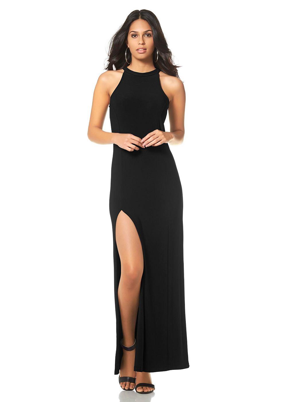 Laura Scott Maxi-jurk met lange zijsplit zwart