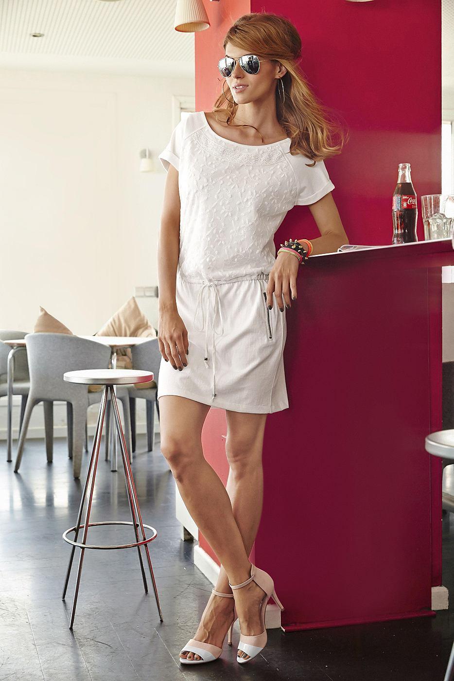 Aniston Sweat-jurk van puur katoen beige