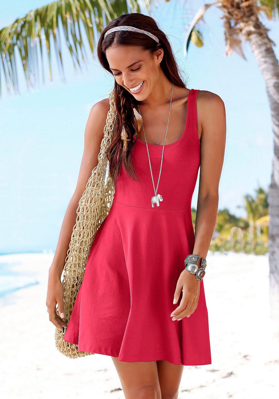 Beachtime Strandjurk met lage ruglijn rood