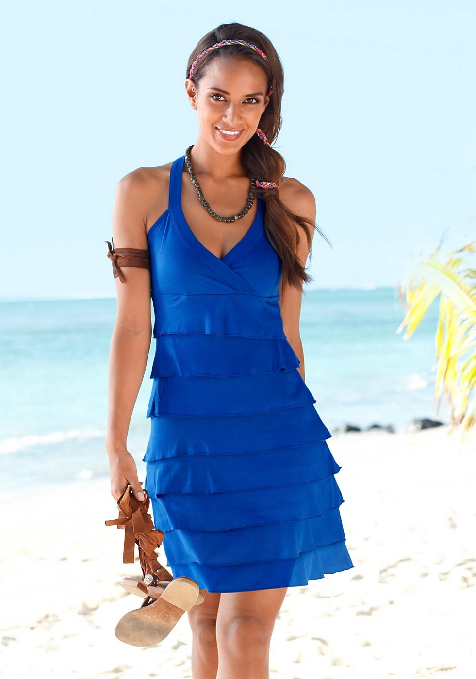 Beachtime Strandjurk van pure viscose blauw
