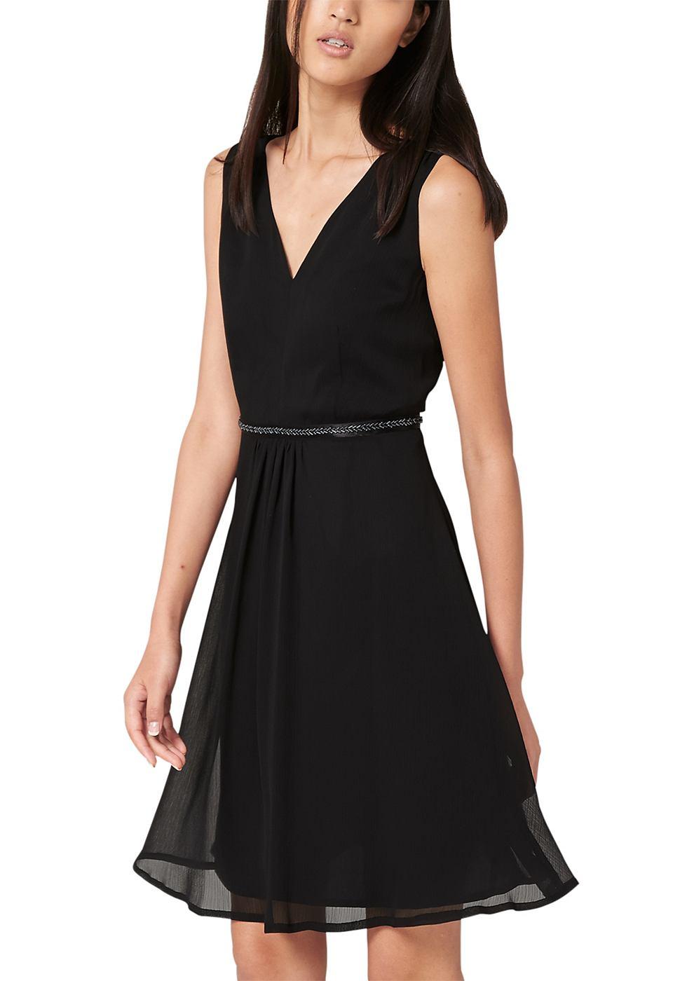 s.Oliver Premium chiffon jurk met geaccentueerde taille zwart