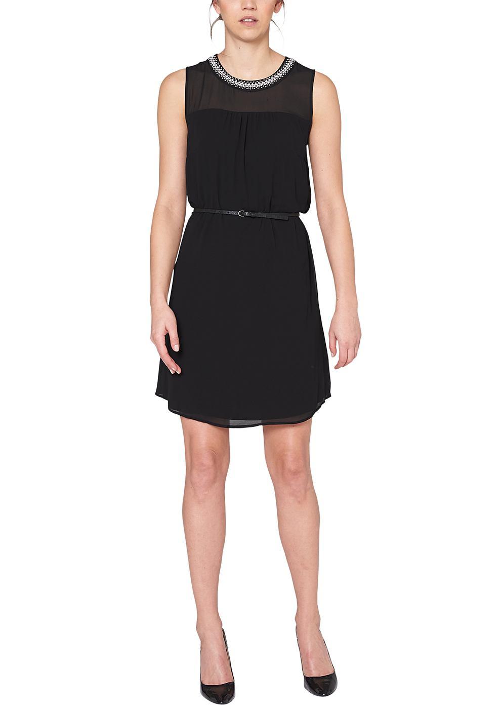 s.Oliver chiffon jurk met ceintuur zwart