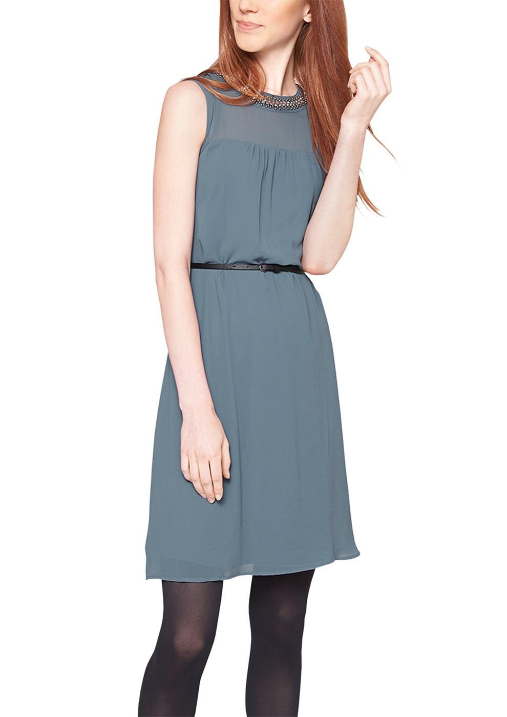 s.Oliver chiffon jurk met ceintuur blauw