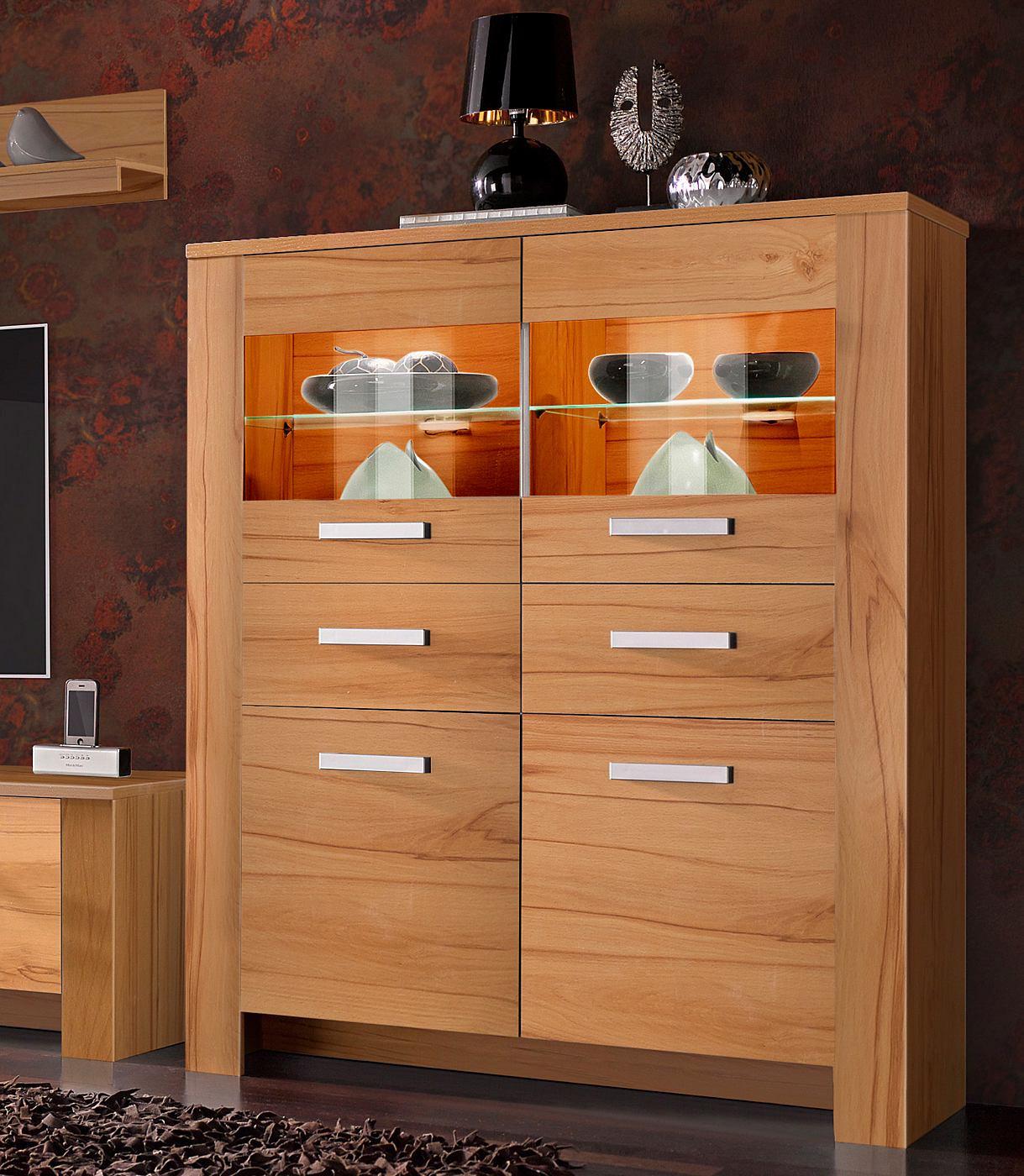 Vitrinekast met 2 houten deuren