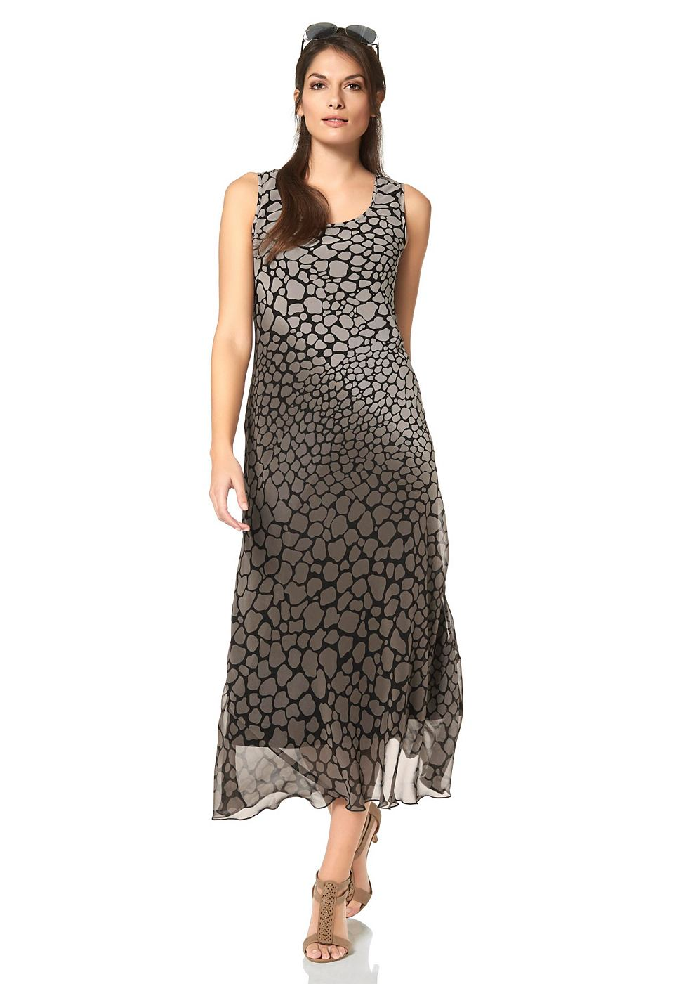 Vivance Collection chiffon-jurk met allover-animal-print beige