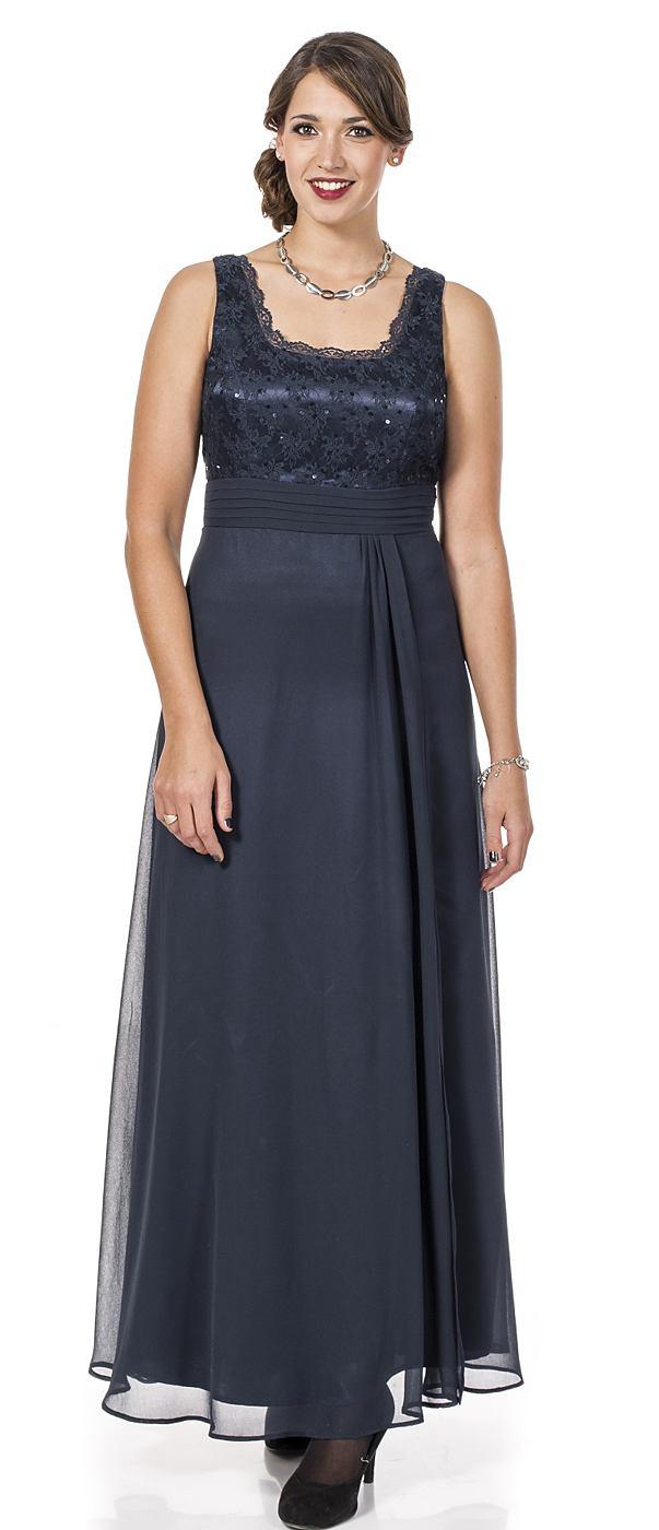 Sheego Style jurk met lijfje van kant blauw