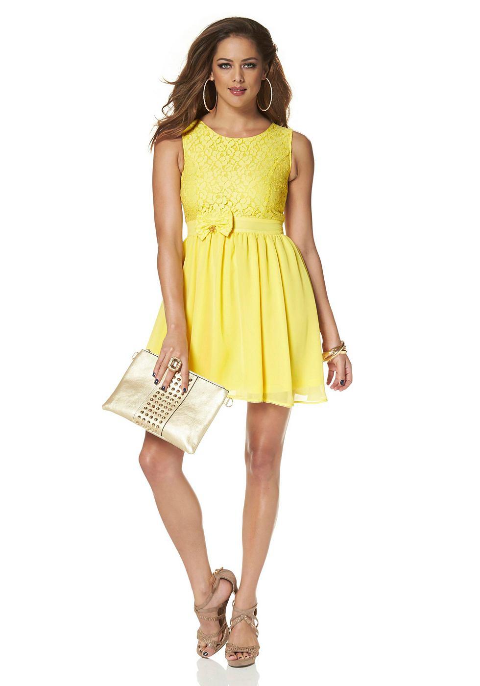 Melrose Geweven jurk van kant en chiffon geel