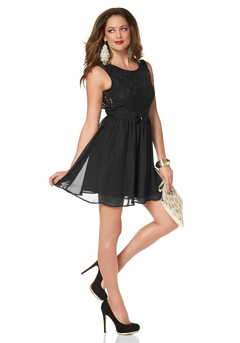 Melrose Geweven jurk van kant en chiffon zwart