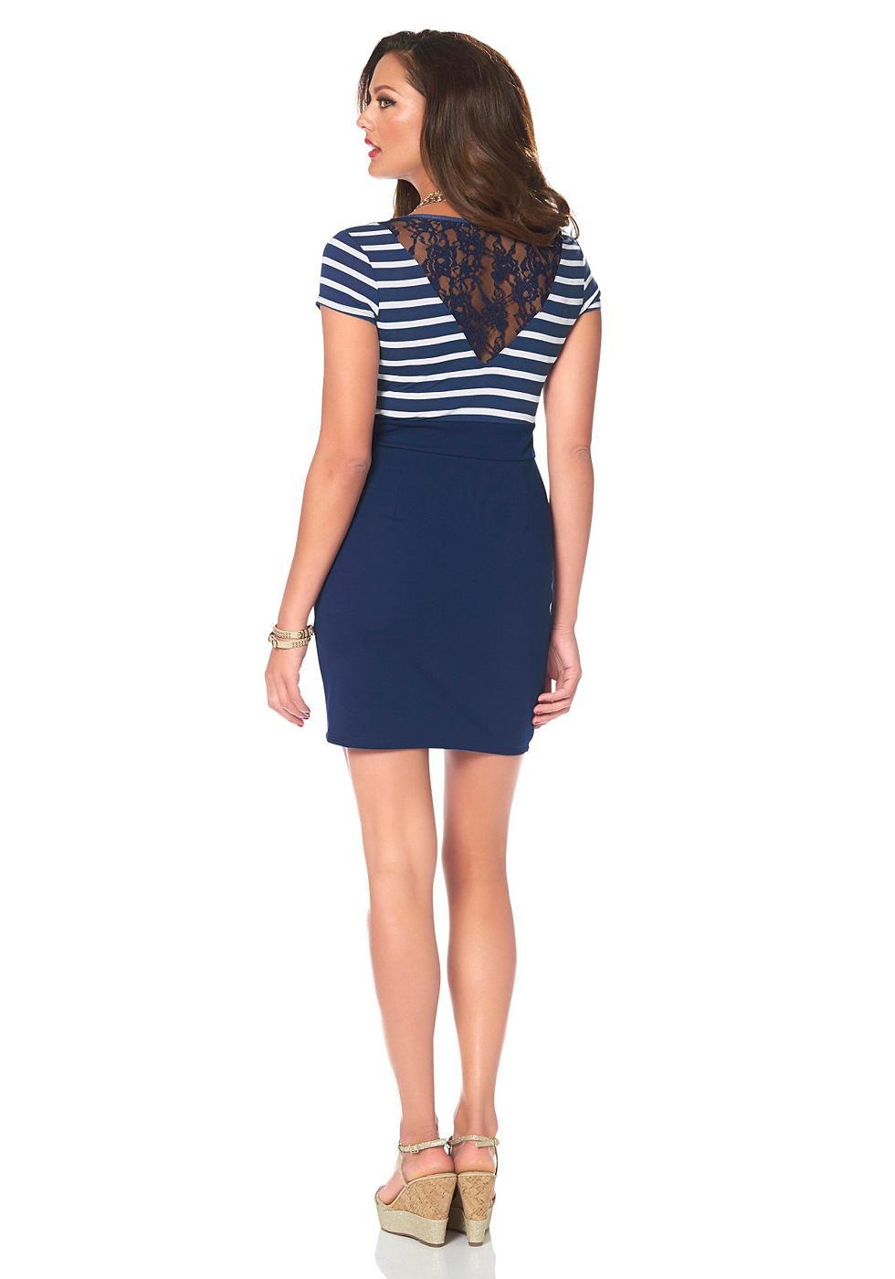 Melrose jersey-jurk met kanten inzet blauw