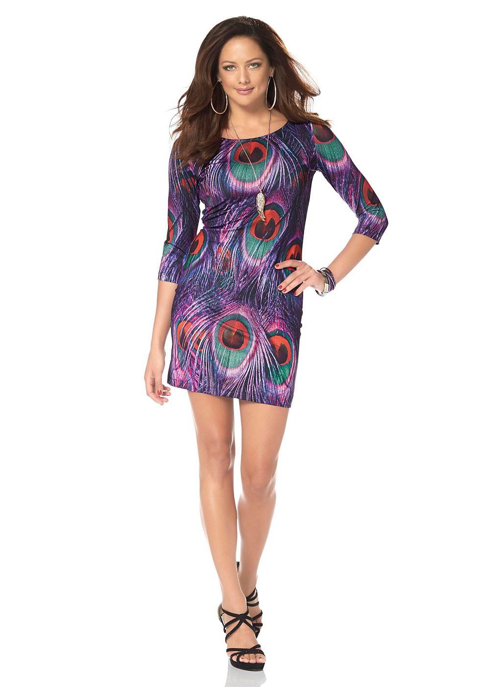 Melrose jersey-jurk met pauwenveerprint paars