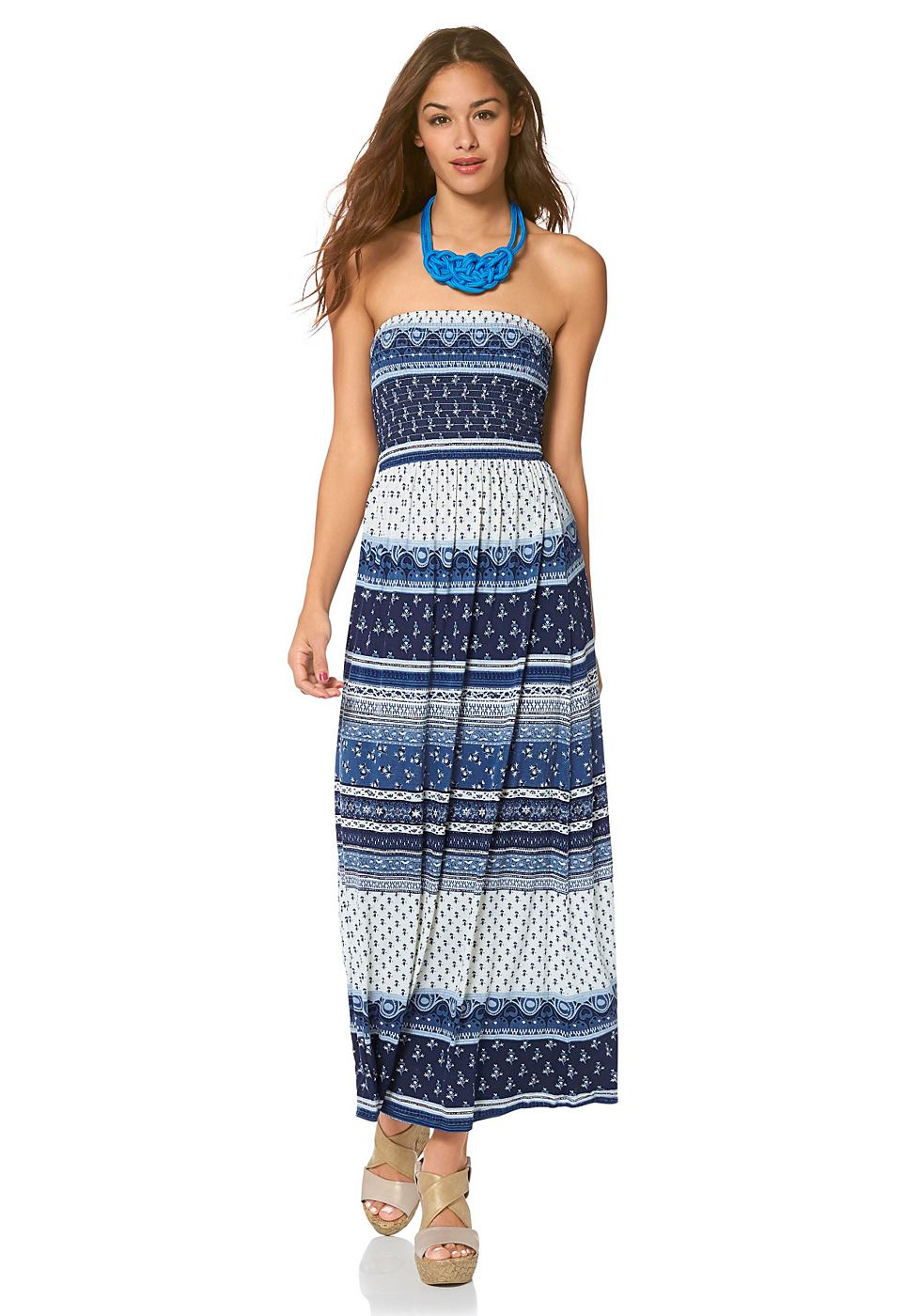 AJC Maxi-jurk in bandeaumodel blauw