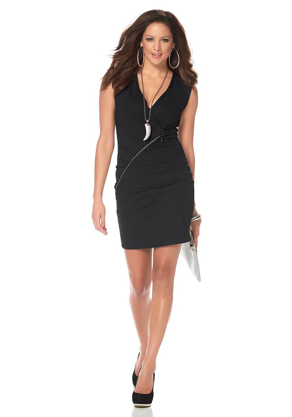 Melrose jersey-jurk met strasrits zwart