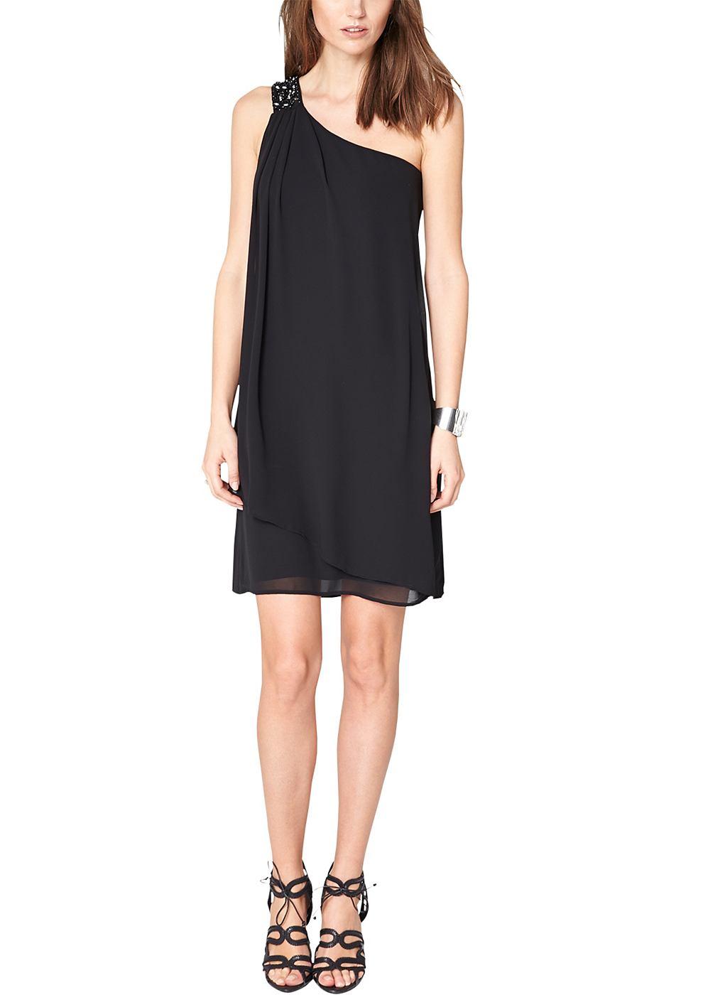 s.Oliver Premium chiffon jurk met een sierlijk detail zwart