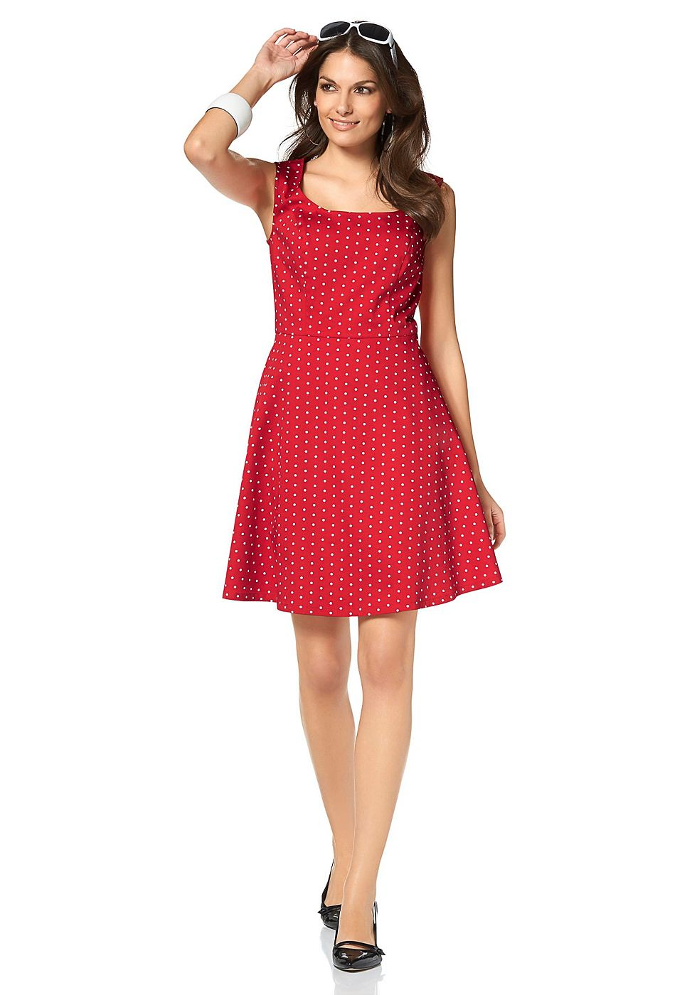 Vivance Collection Mouwloze jurk in A-lijn met ronde hals rood