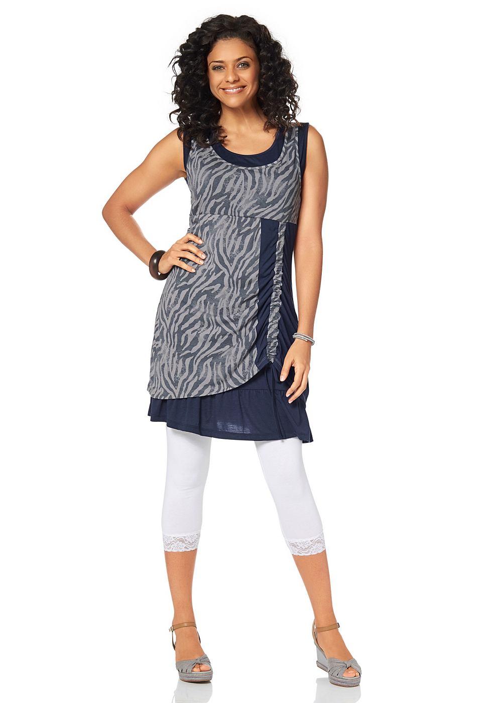 Boysen's jersey-jurk in dubbellaagse verwerking blauw