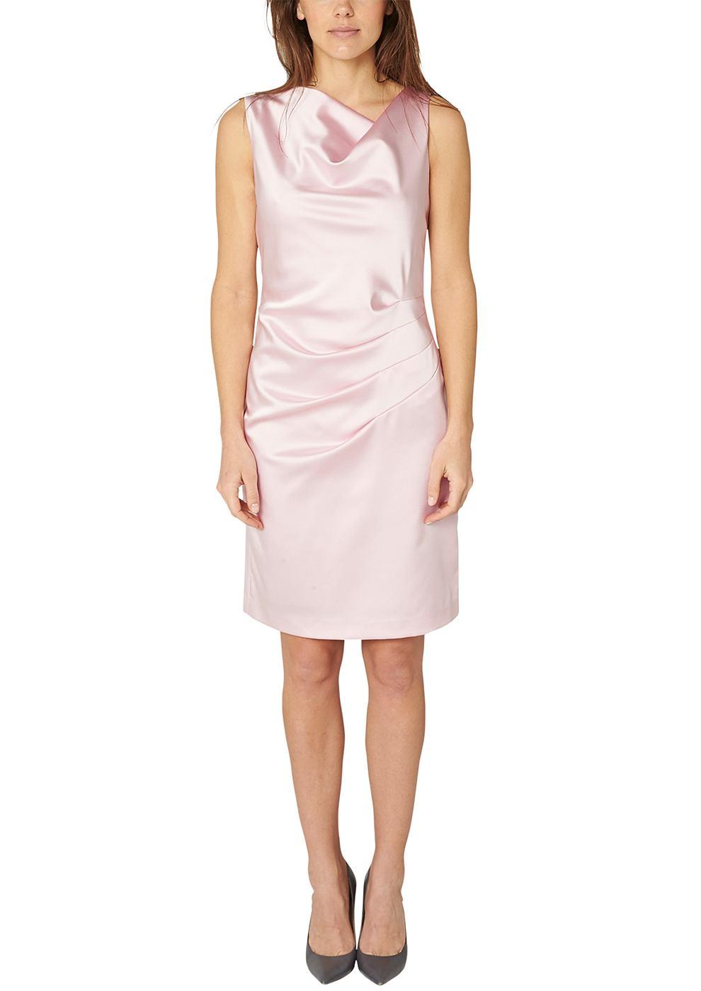 s.Oliver Premium satijnen jurk met draperie in de taille roze