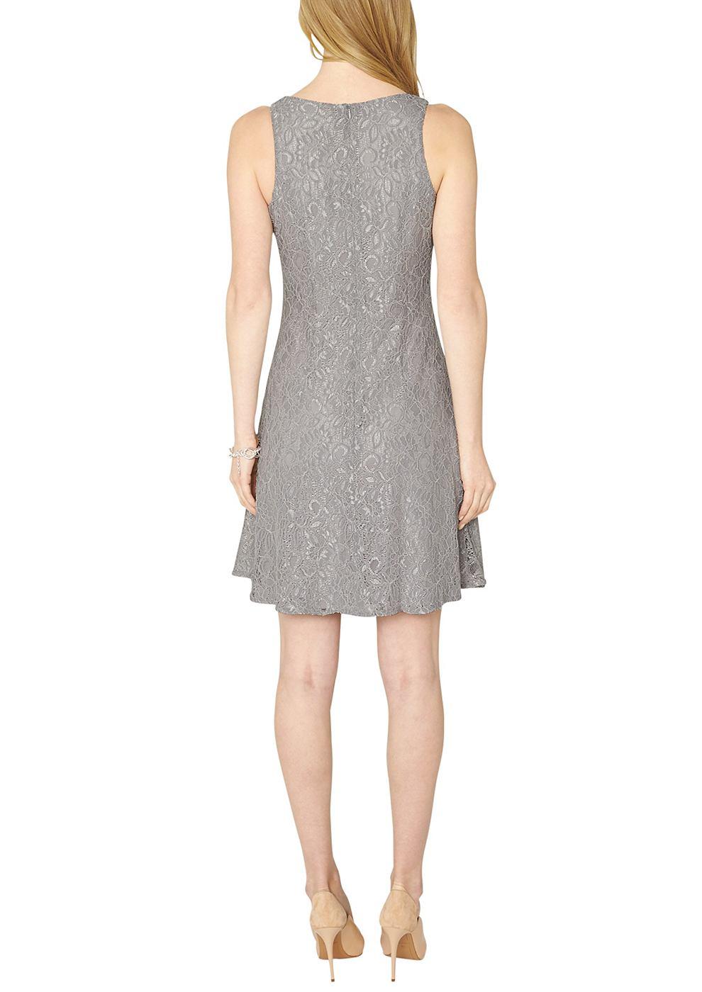 s.Oliver Premium Mouwloze jurk van zilverkleurige kant grijs