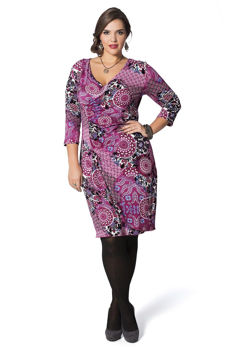 Sheego Style gedessineerde jerseyjurk roze