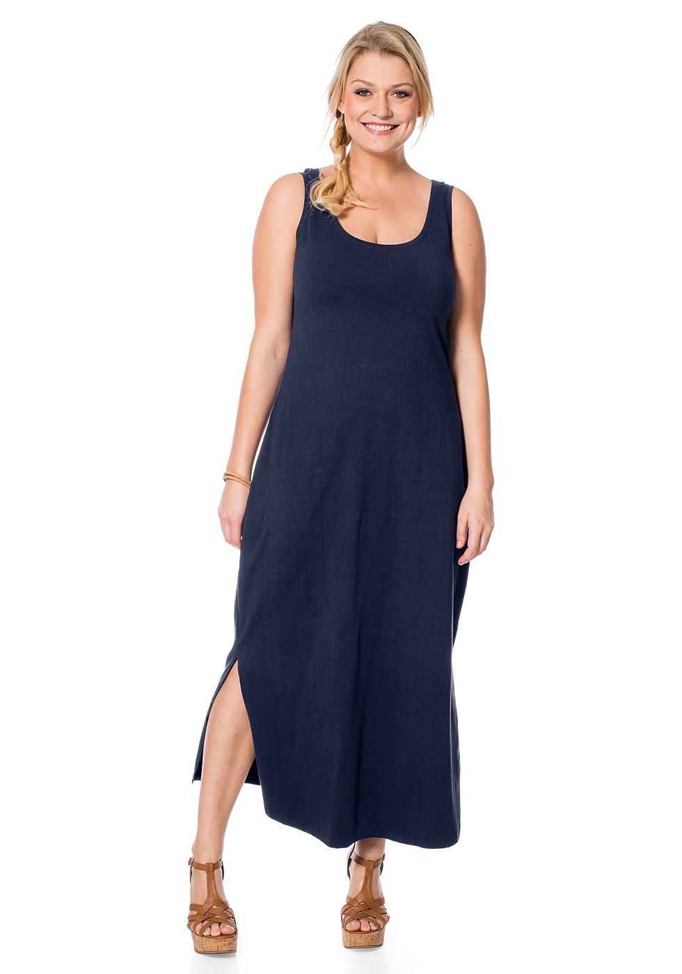 Sheego Casual Shirt-jurk met ronde hals blauw