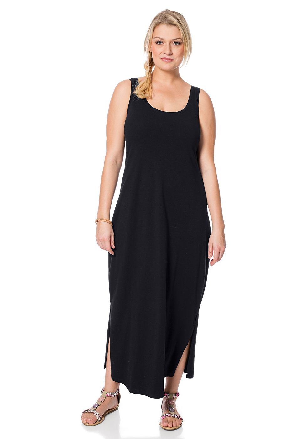 Sheego Casual Shirt-jurk met ronde hals zwart