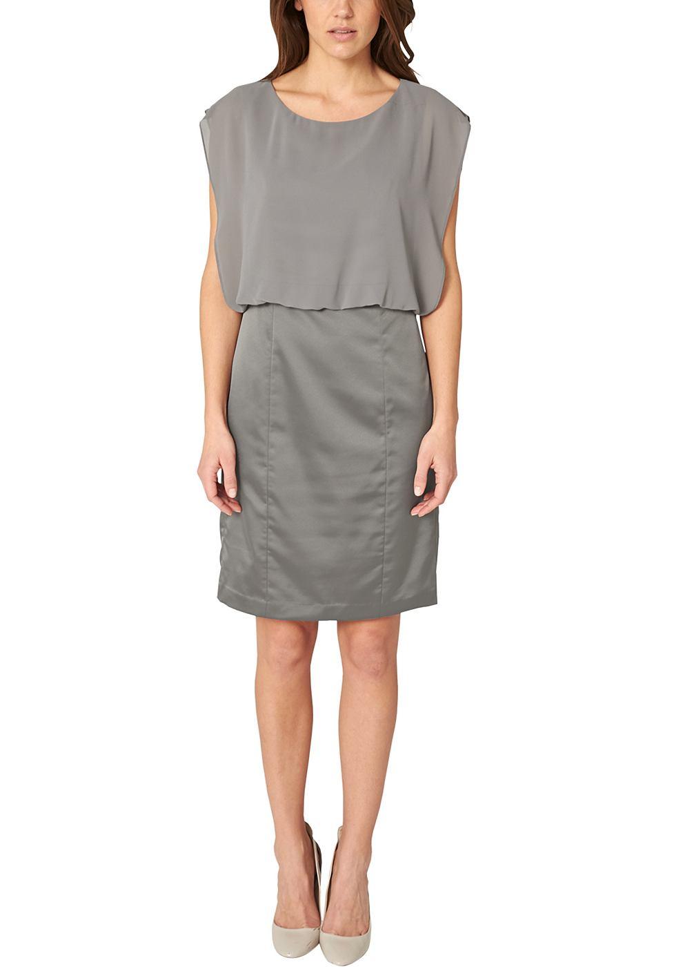 s.Oliver Premium satijnen jurk met crepe beleg grijs