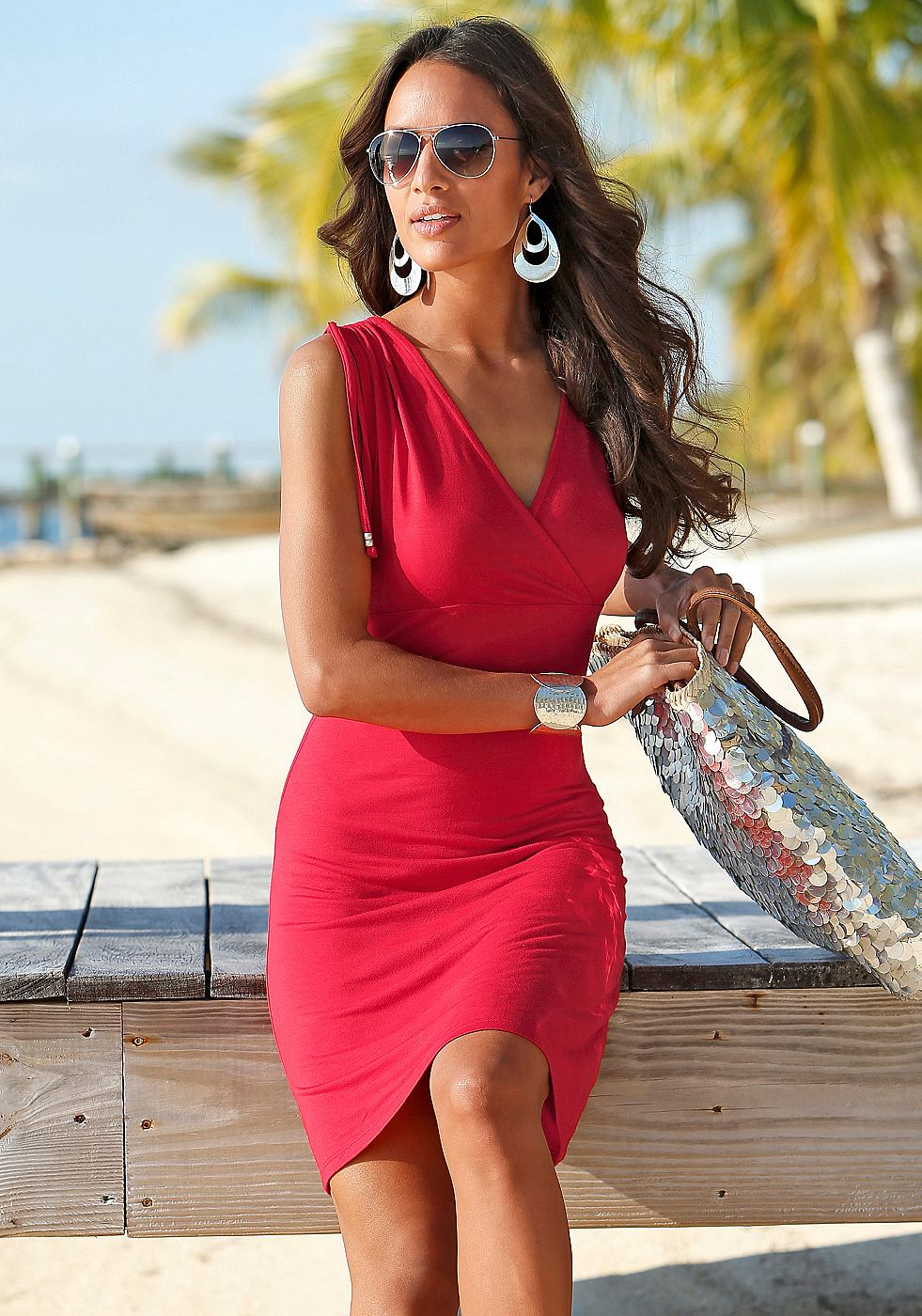 Beachtime Strandjurk in wikkel-look rood