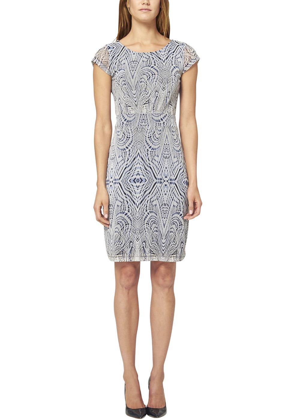 s.Oliver Premium Mesh jurk met een motief blauw