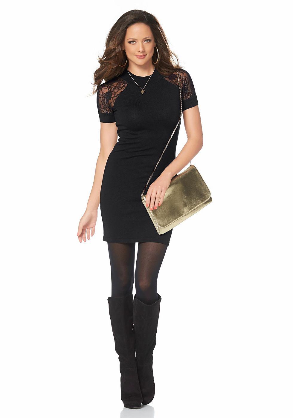 Melrose Tricot-jurk met kanten mouwen zwart