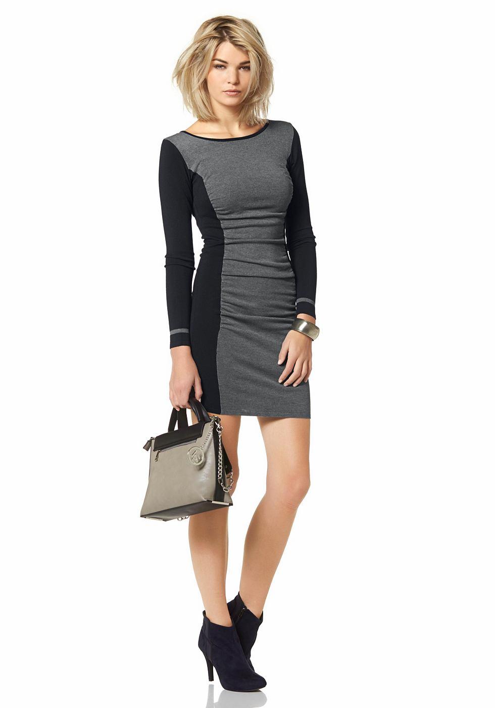 Laura Scott Tricot-jurk in colourblocking-look grijs