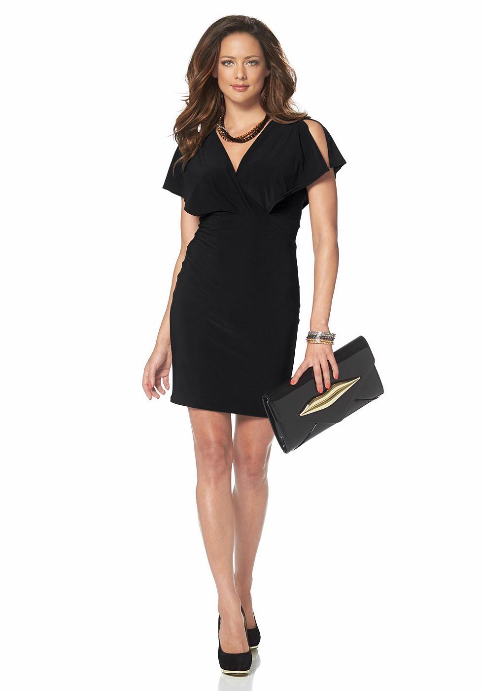 Melrose jersey-jurk met vleugelmouwen zwart