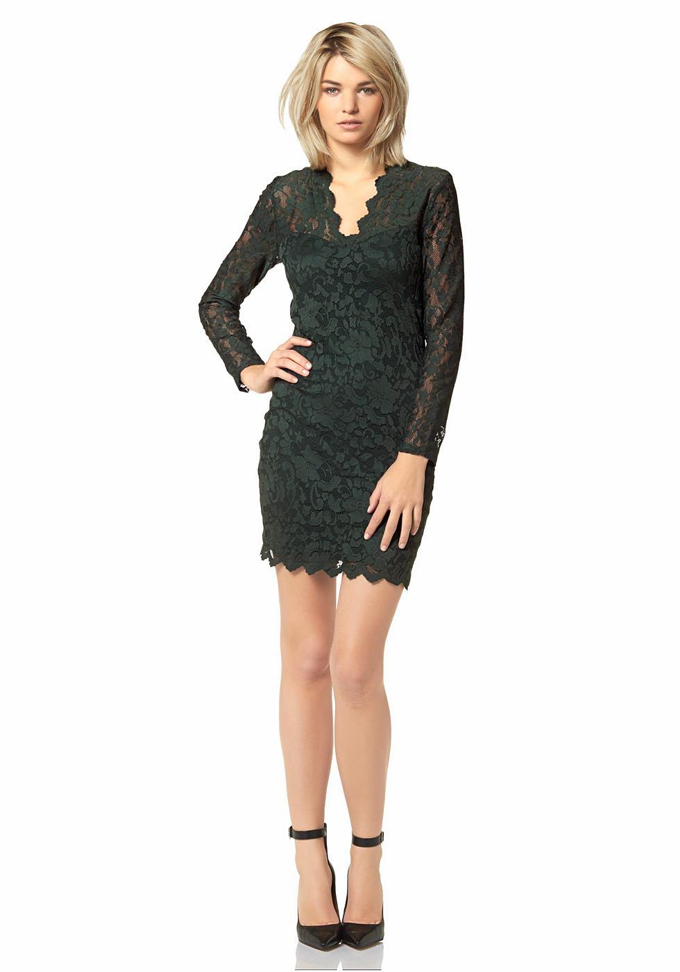 Laura Scott kanten jurk met diepe V-hals groen
