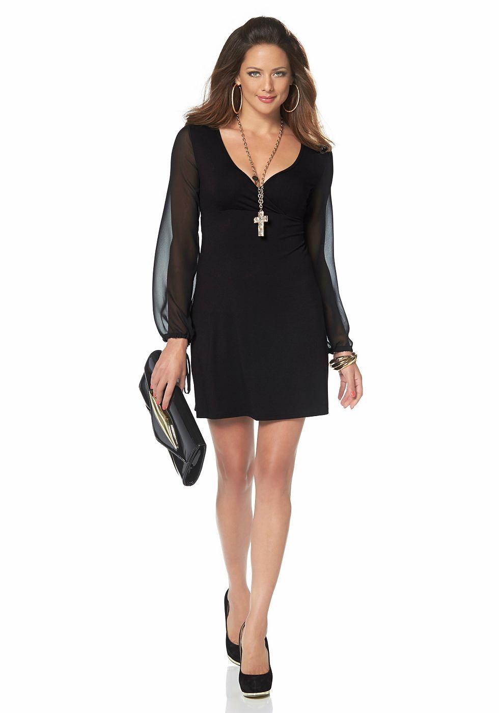 Melrose jersey-jurk met chiffonmouwen zwart