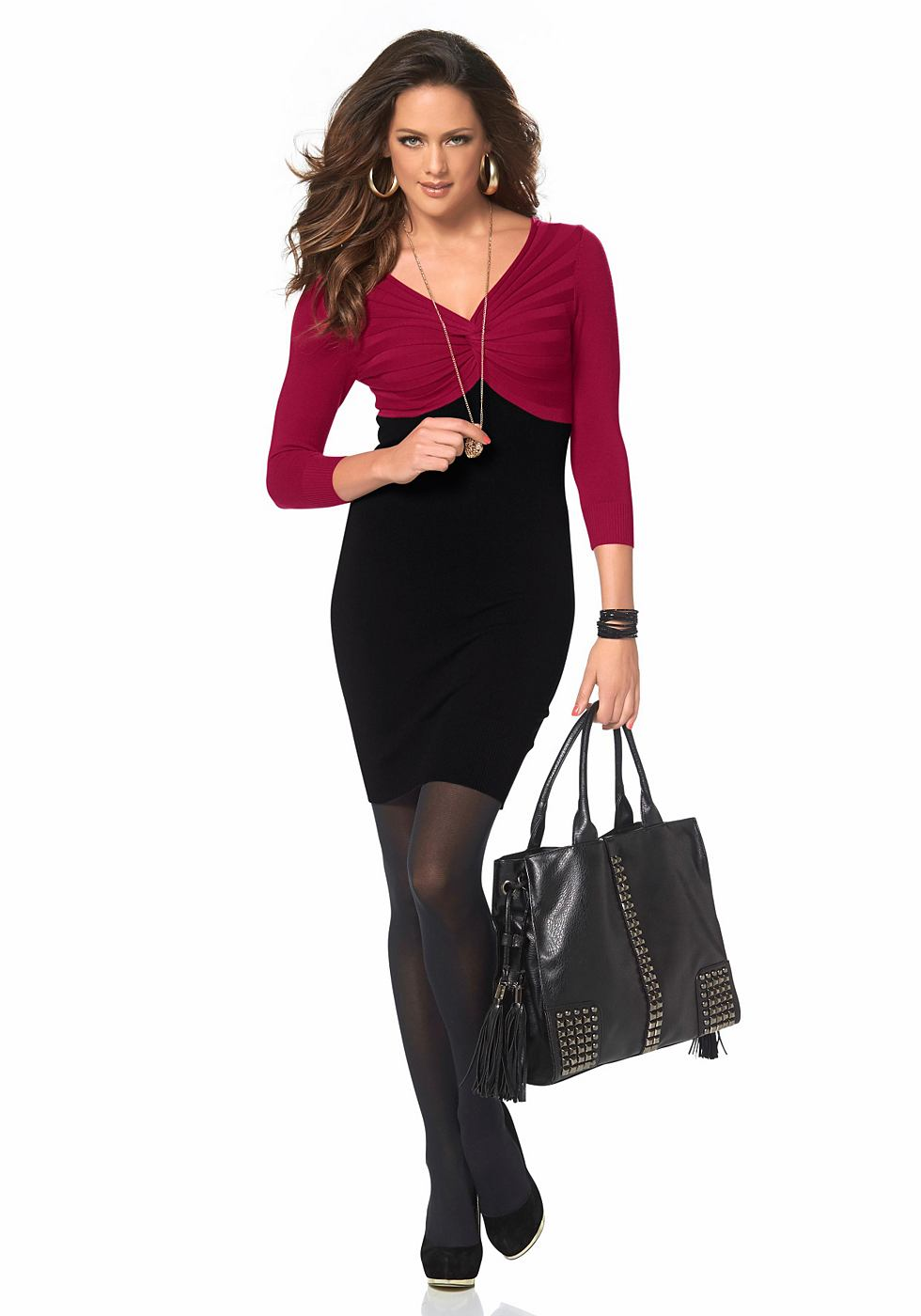 Melrose Tricot-jurk in colourblocking-look rood