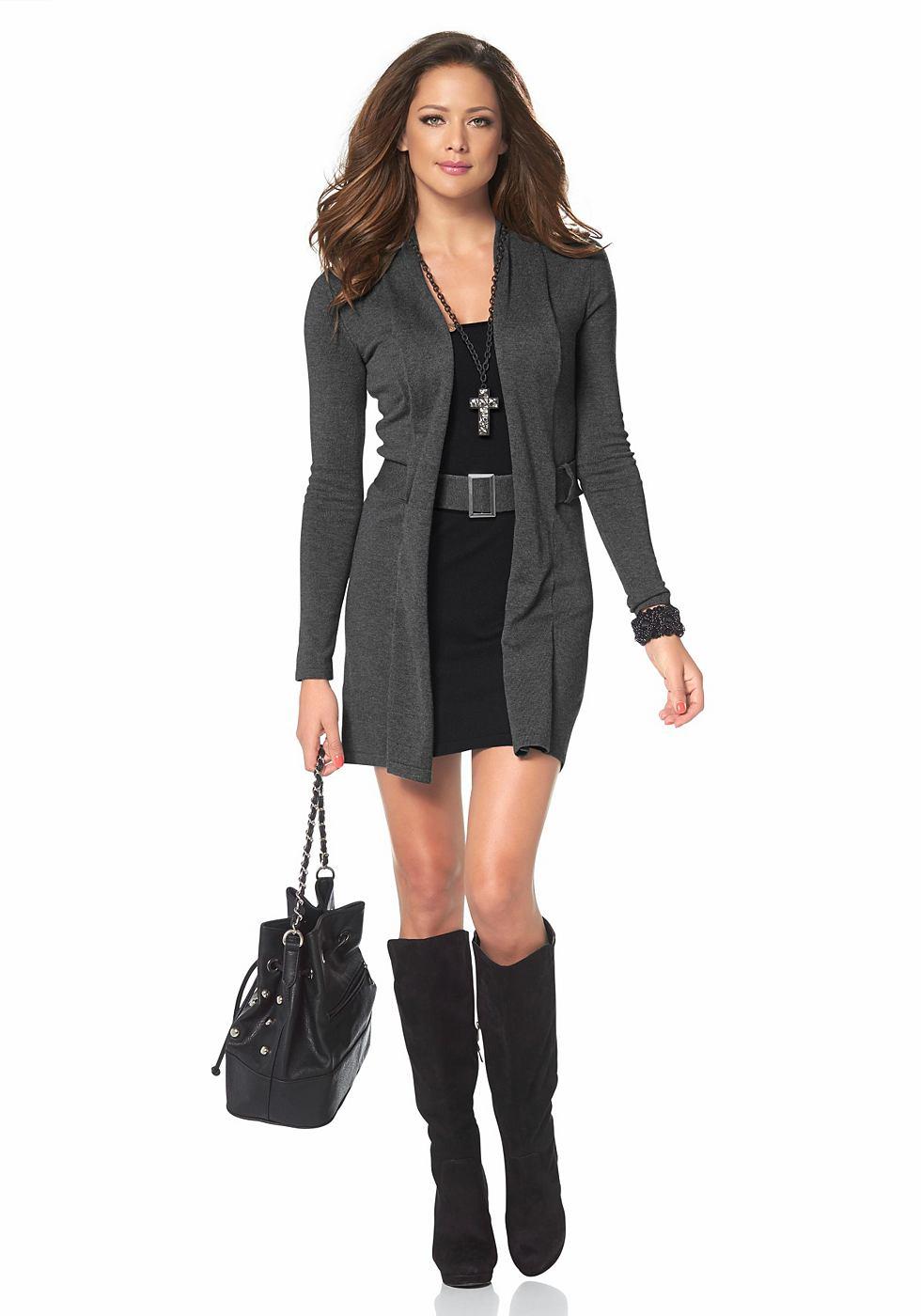 Melrose Tricot-jurk in 2-in-1-look grijs