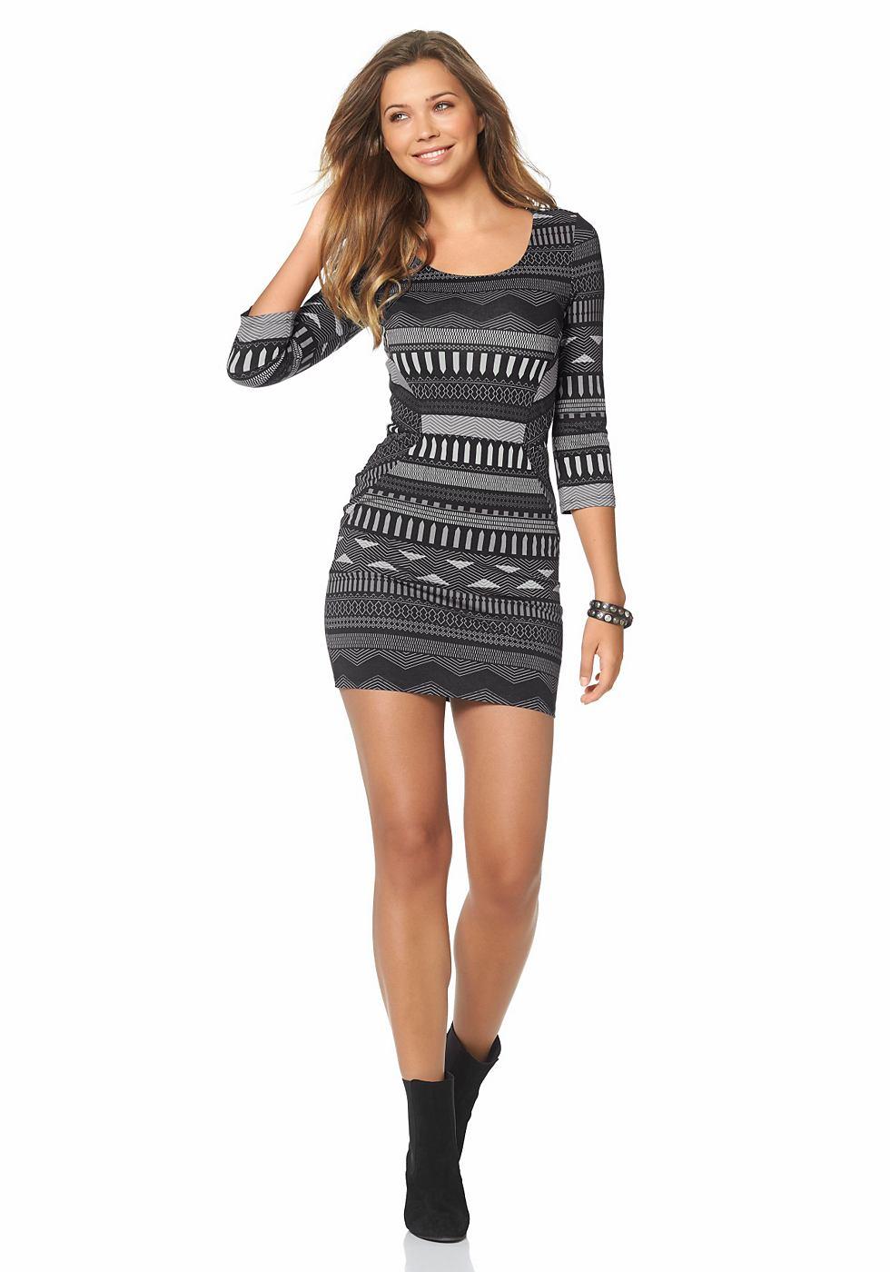 AJC jersey-jurk met allover-print grijs