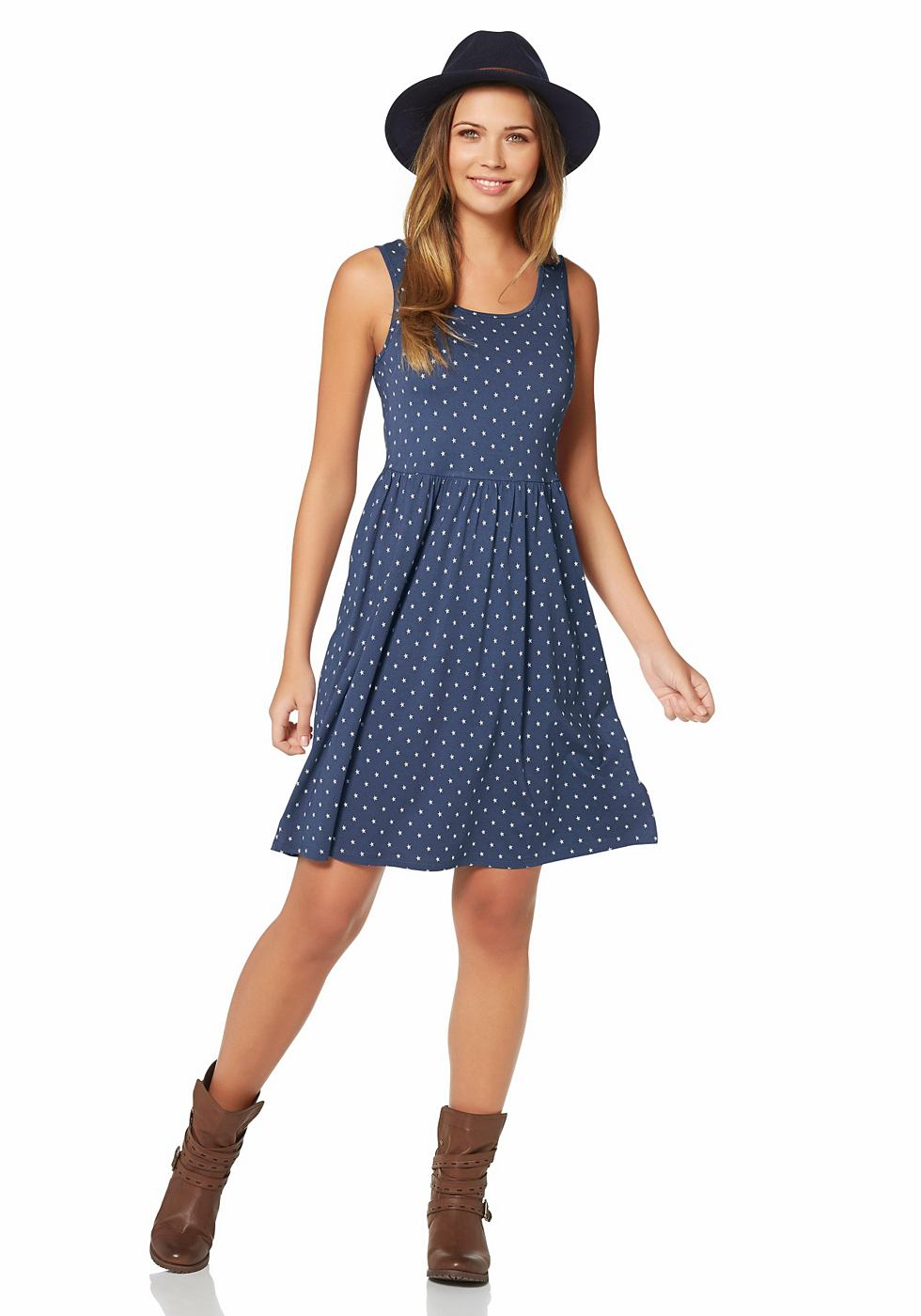 AJC jersey-jurk met sterrenprint allover blauw