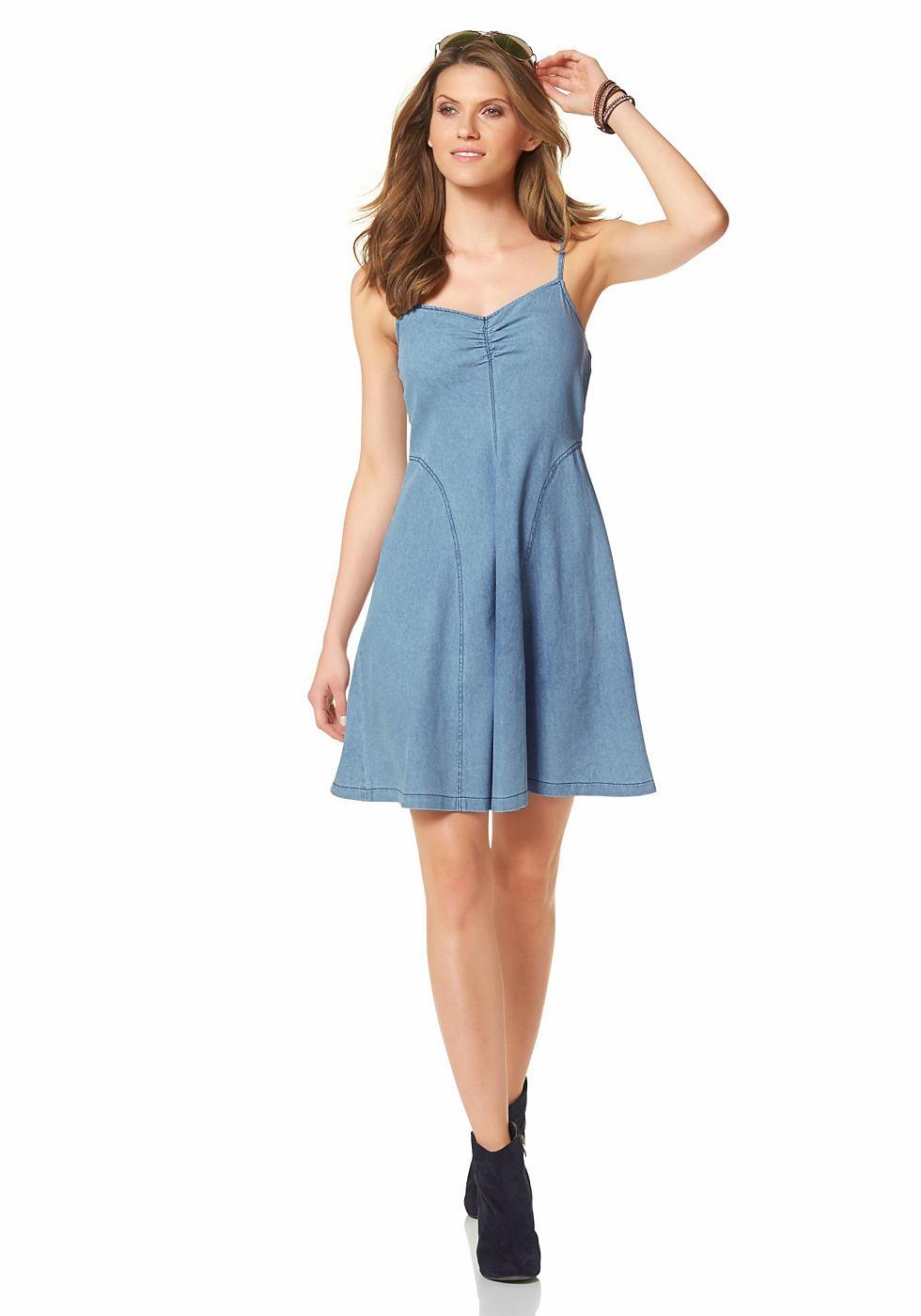 Aniston Jeansjurk met rits blauw