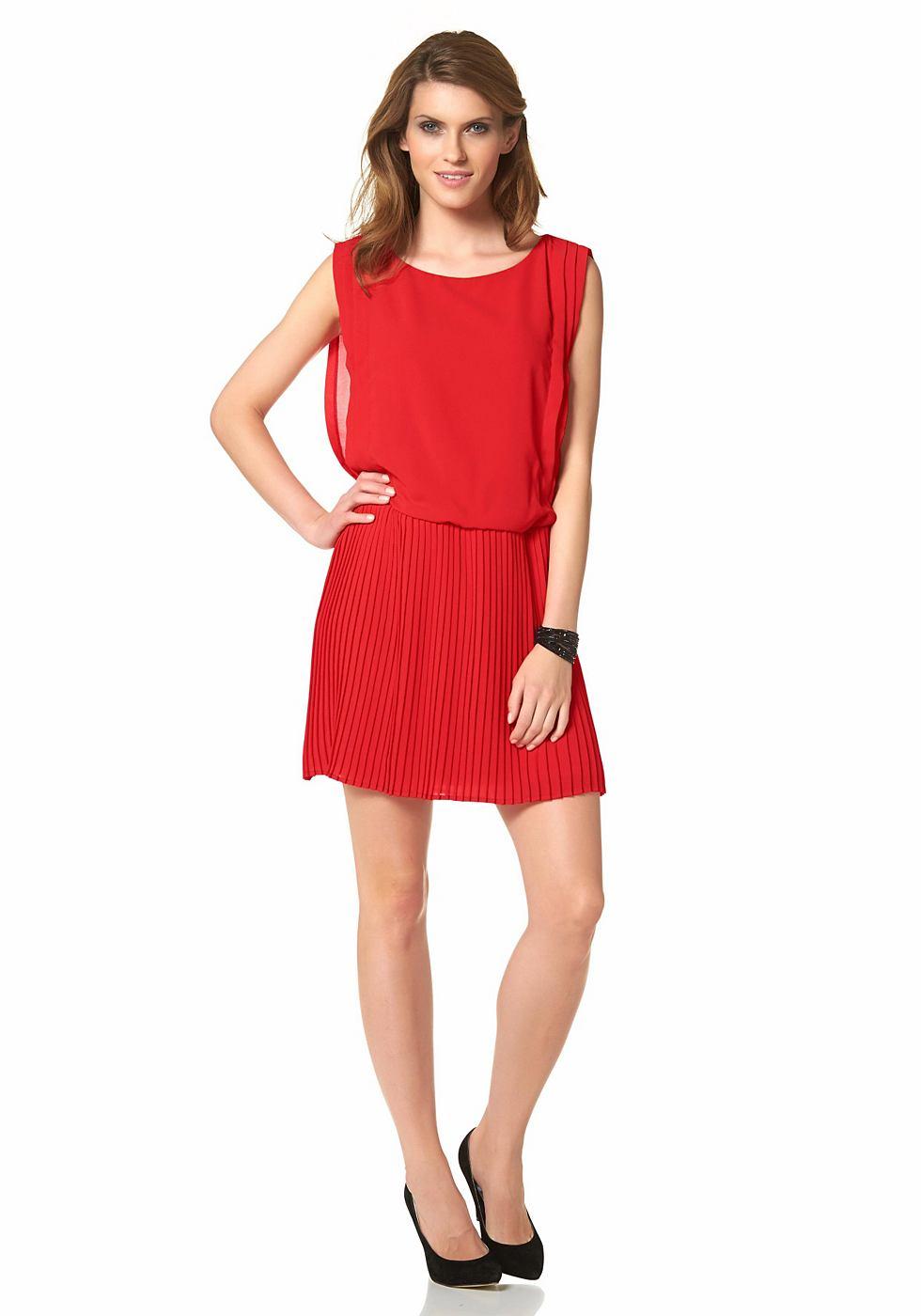 Aniston zomerjurk van chiffon met Plissee-rok rood