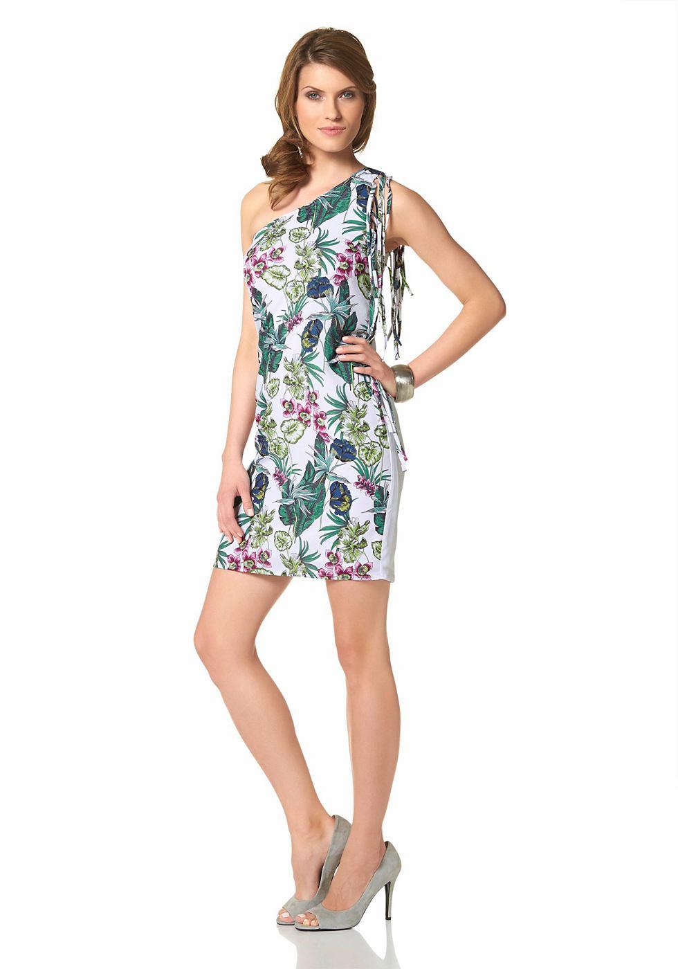 Aniston zomerjurk in one-shoulder-stijl met franje wit