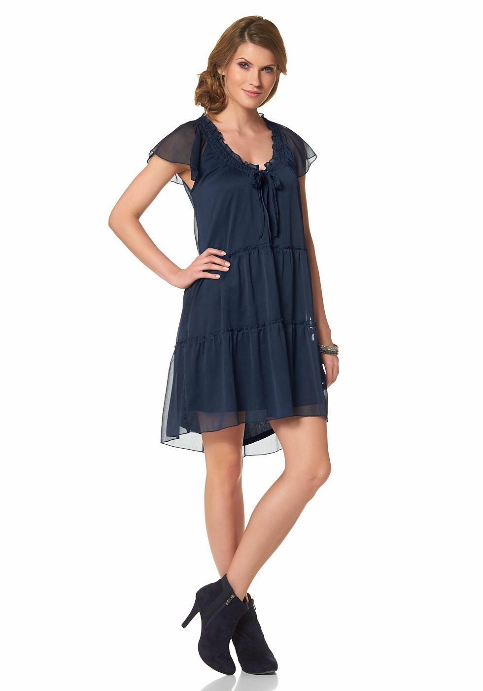 Aniston chiffon-jurk zonder sluiting blauw