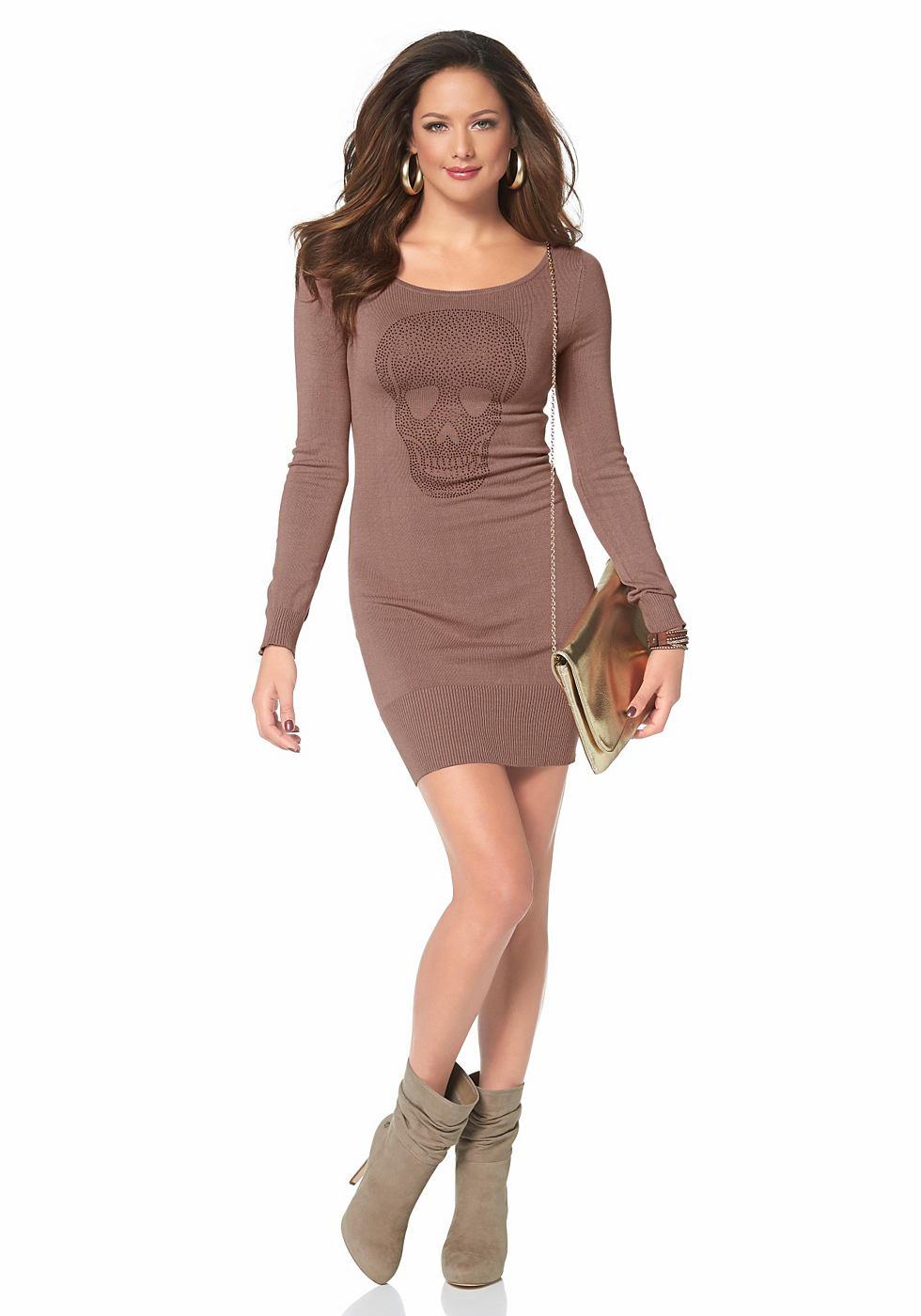 Melrose Tricot-jurk met doodskopmotief bruin