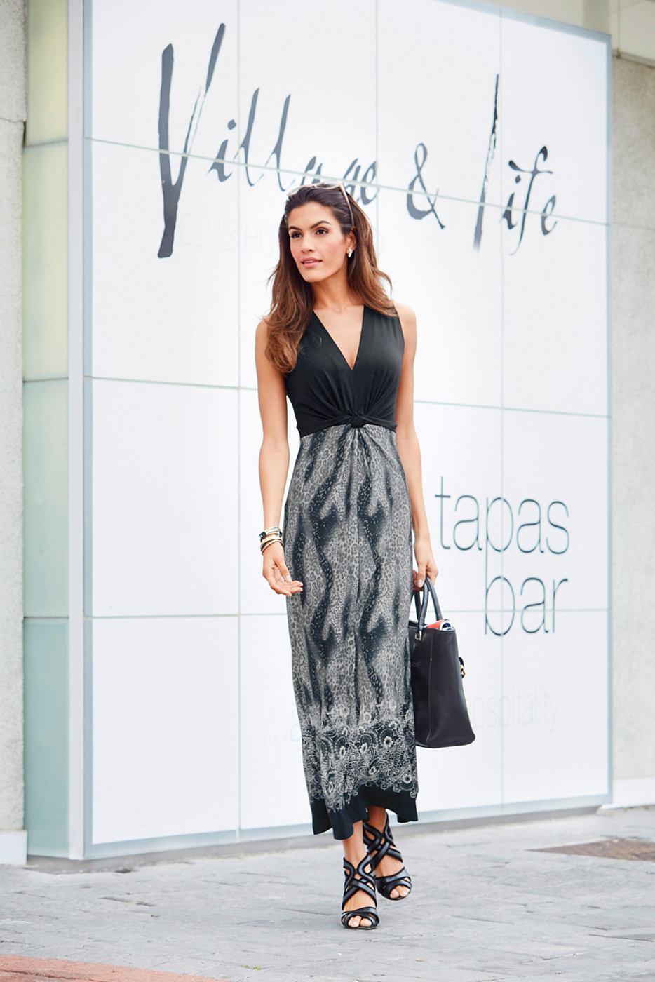 Vivance Collection jersey-jurk met brede bandjes zwart