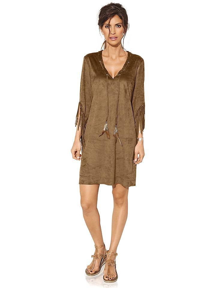 jurk van imitatieleer bruin
