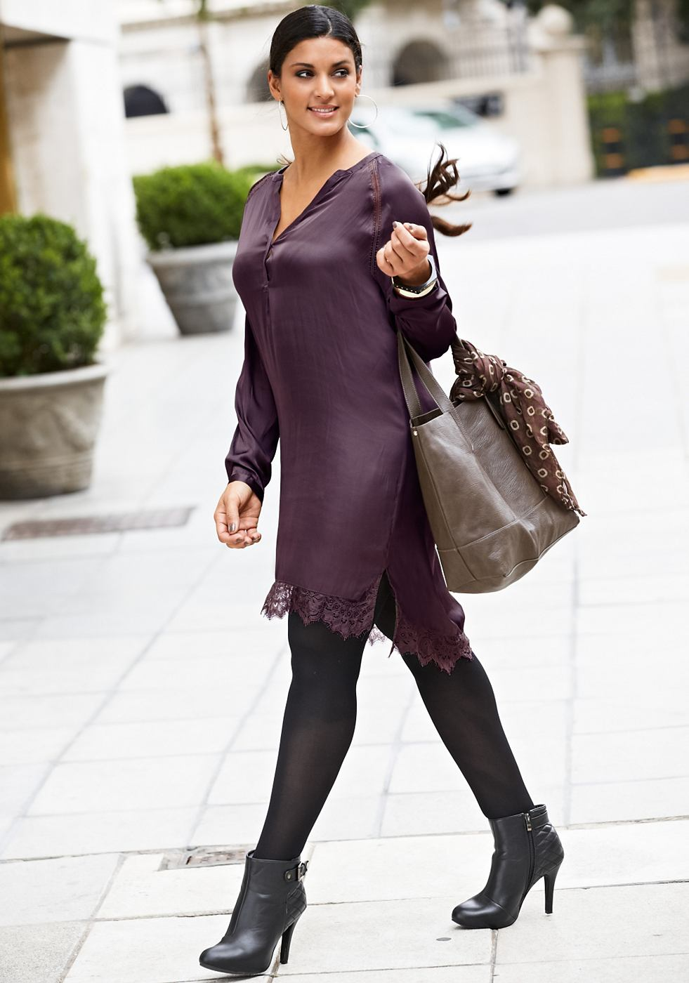 Sheego Style tuniekjurk paars