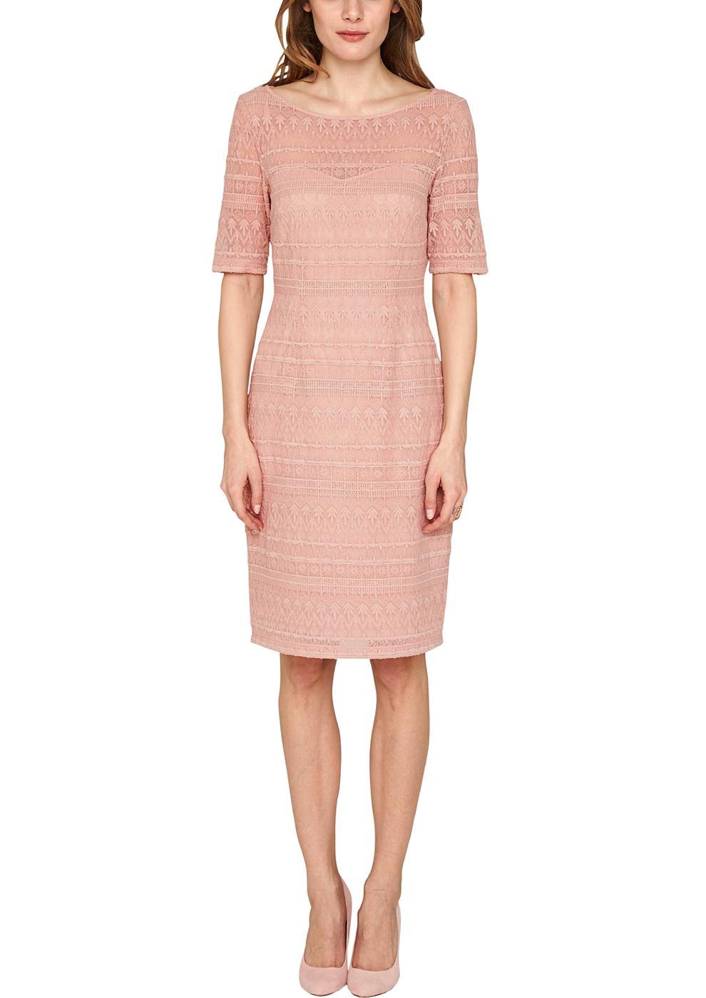 s.Oliver Premium jurk van katoenen kant roze