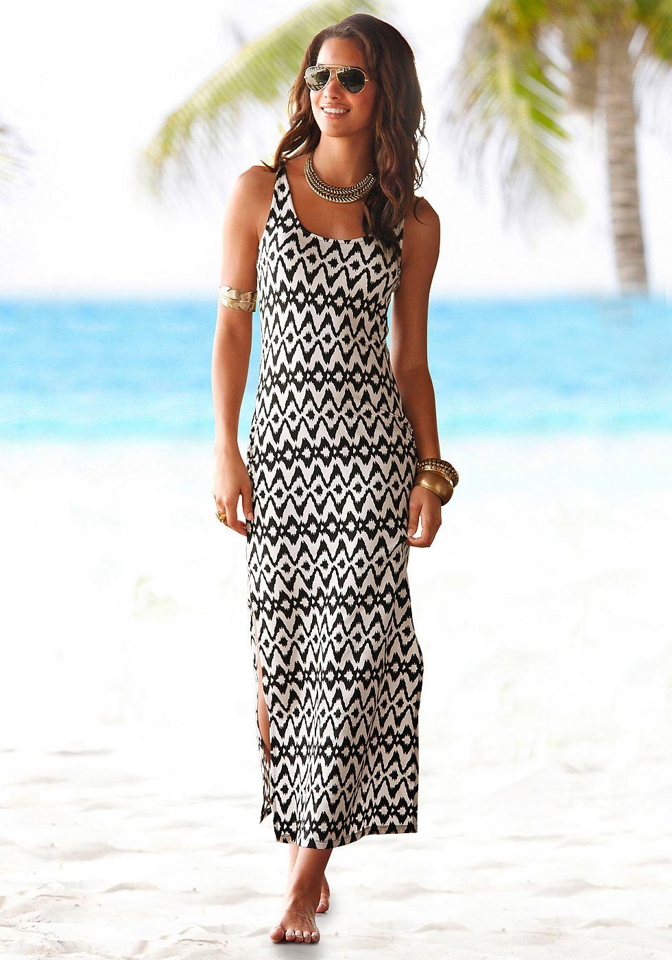 Lascana Maxi-jurk in imprimédessin zwart