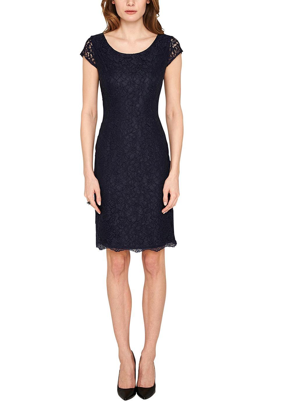 NU 15% KORTING: s.Oliver Premium Accentuerende jurk van kant blauw
