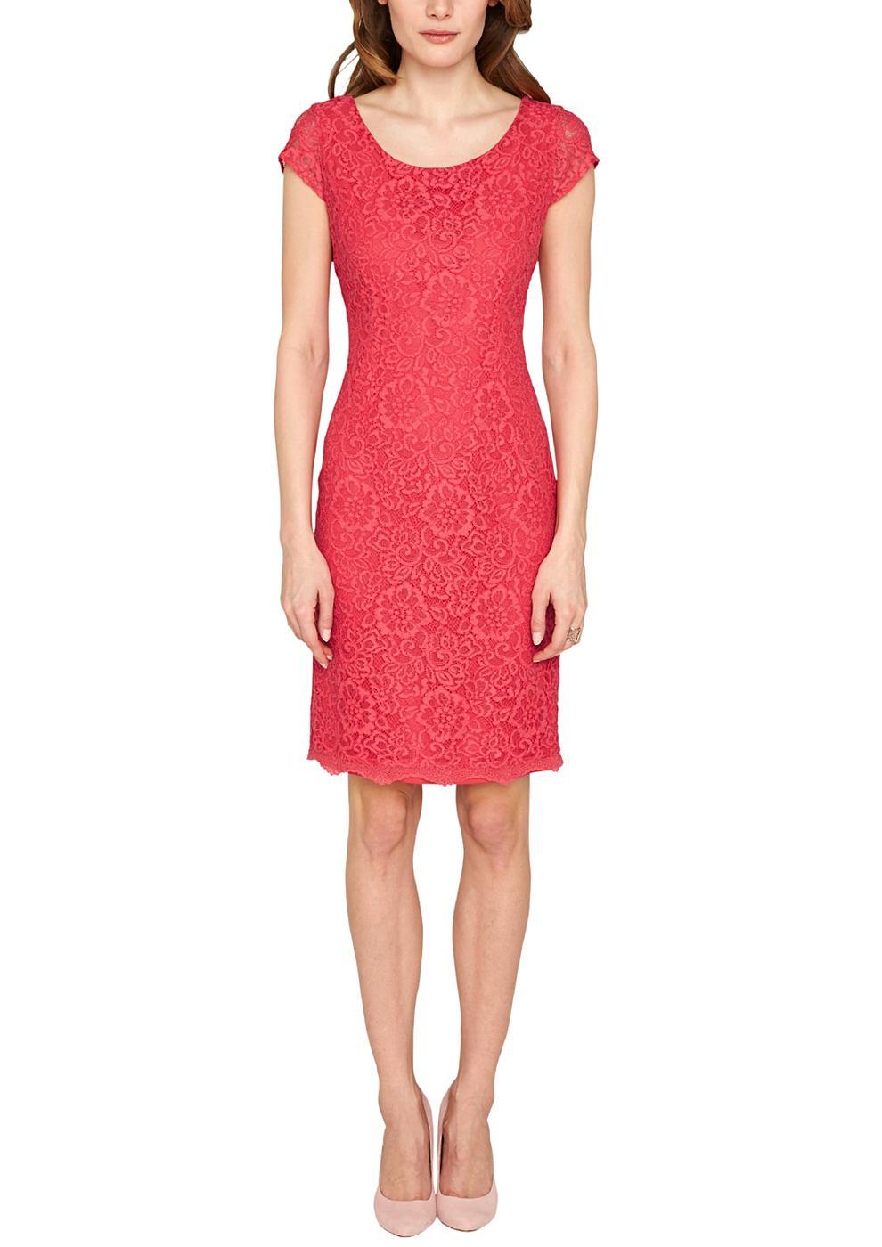 s.Oliver Premium Accentuerende jurk van kant roze
