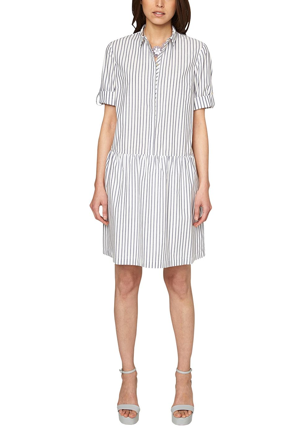 s.Oliver Shirtdress met oprolbare mouwen wit