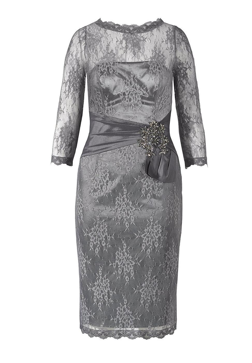 Apart kanten jurk grijs